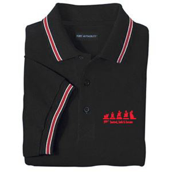 Picture of Black Polo w/Red Striped Trim