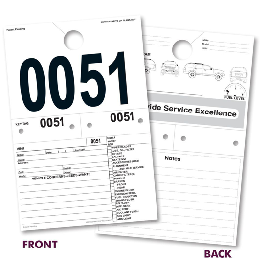 Picture of Service Write Up FlagTag - Stock Numbering Sequence - 1,000 per pack